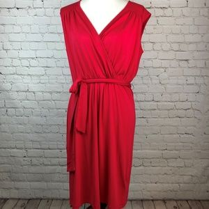Philosophy Coral Pink Faux Wrap Dress w/ Belt Med